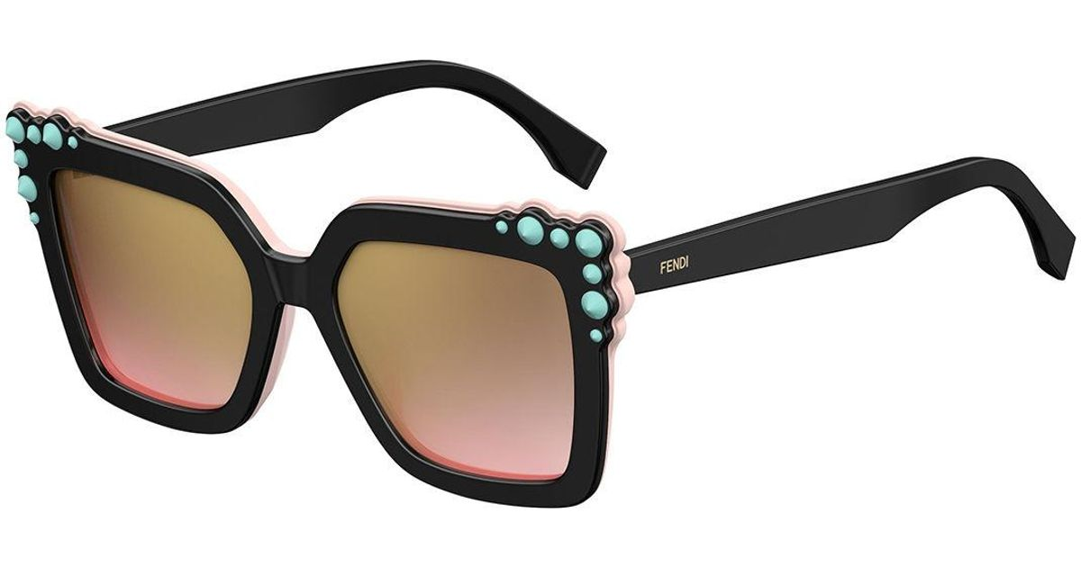 44db54ab31 Lyst - Fendi Can Eye Two-tone Studded Square Sunglasses in Black
