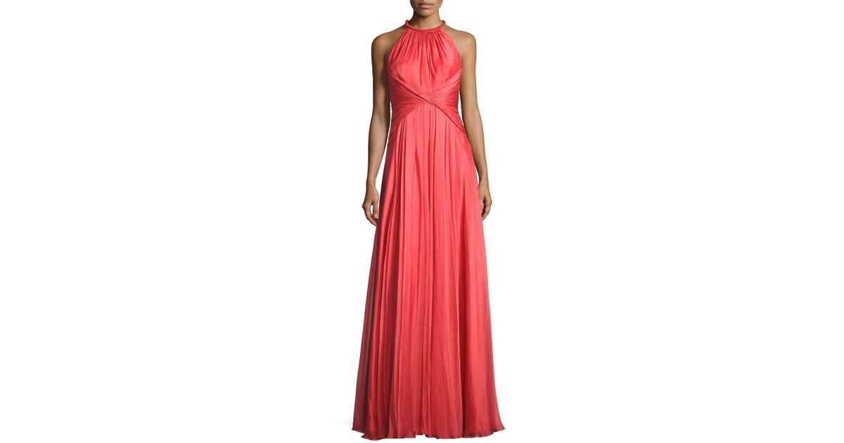 fc2ac05863f Carmen Marc Valvo Sleeveless Shirred Silk Gown in Pink - Lyst