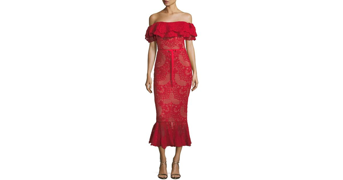 5d4401e1 Lyst - Marchesa notte Off-shoulder Flared Lace Cocktail Midi Dress in Red