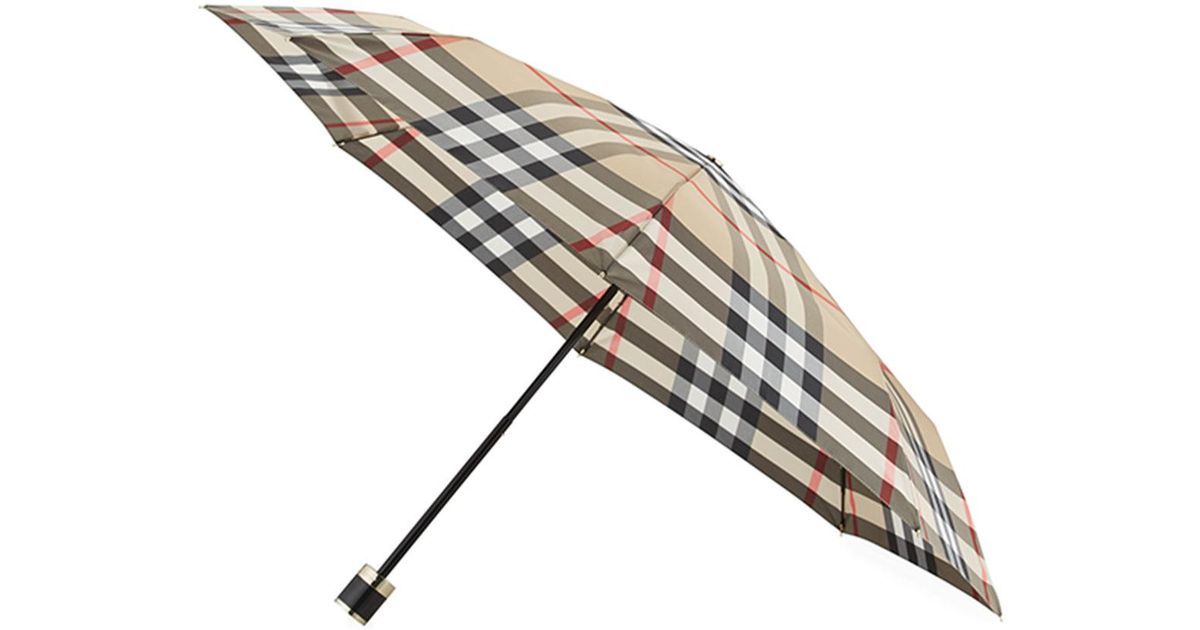 17ca49db3055 Lyst - Burberry Trafalgar Packable Check Folding Umbrella in Natural
