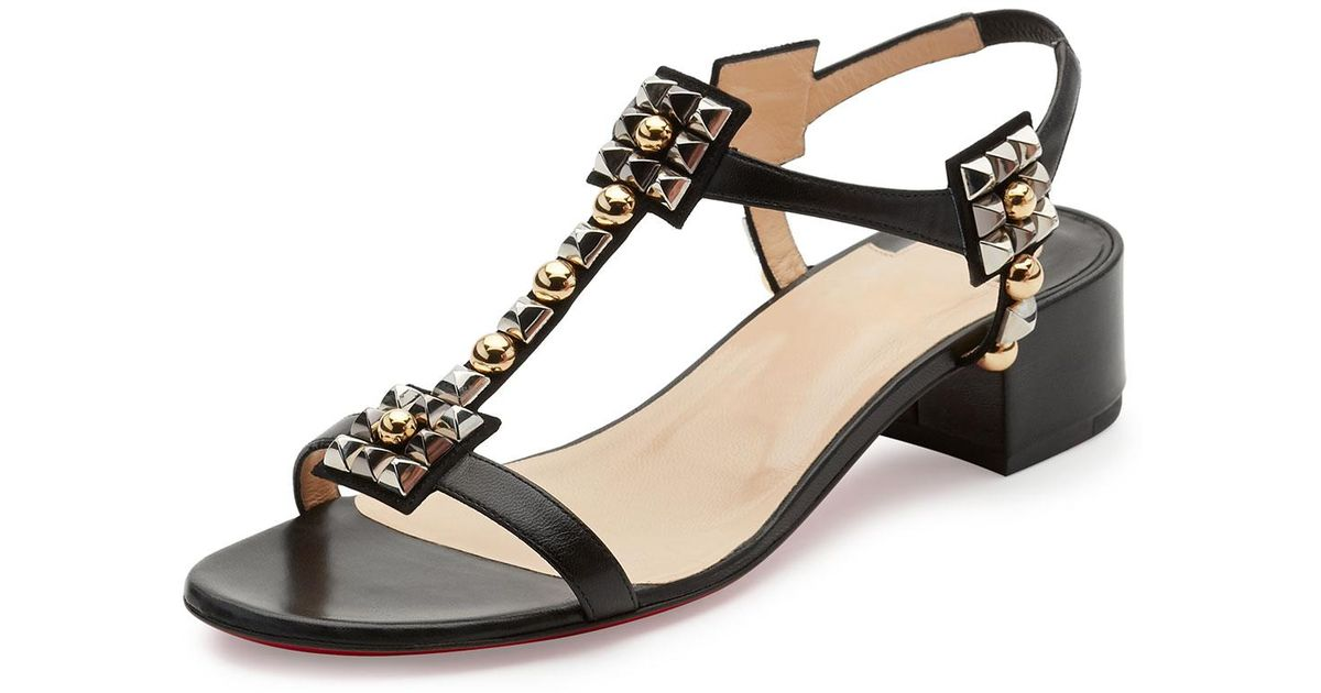 1464d3bff1a5 Lyst - Christian Louboutin Kaleidra Spike T-strap Red Sole Sandal in Black