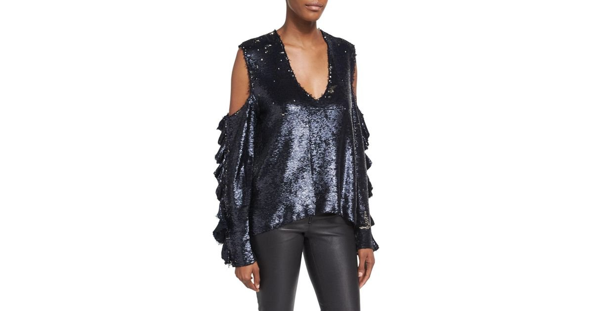 e7160552ae02ae Lyst - IRO Waleast V-neck Cold-shoulders Ruffled Sleeves Sequin Top in Black