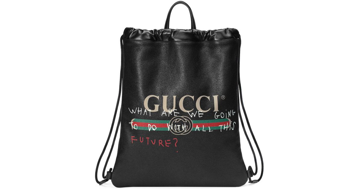9aab34feca6 Lyst - Gucci -print Leather Drawstring Backpack in Black