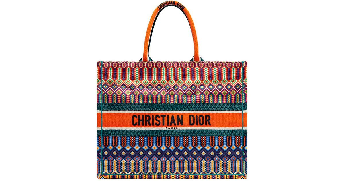 0a4ac25cfc549 Lyst - Dior Multi-colored Logo Embroidered Canvas Book Tote in Red