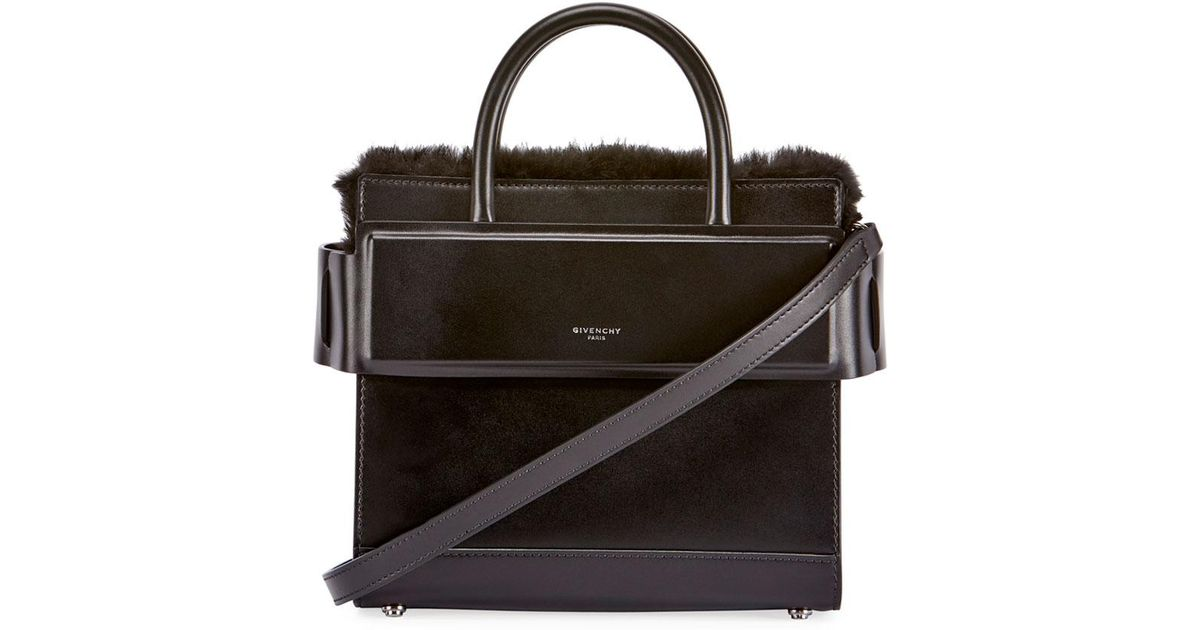 4632885acd Lyst - Givenchy Horizon Mini Fur-trimmed Tote Bag in Black