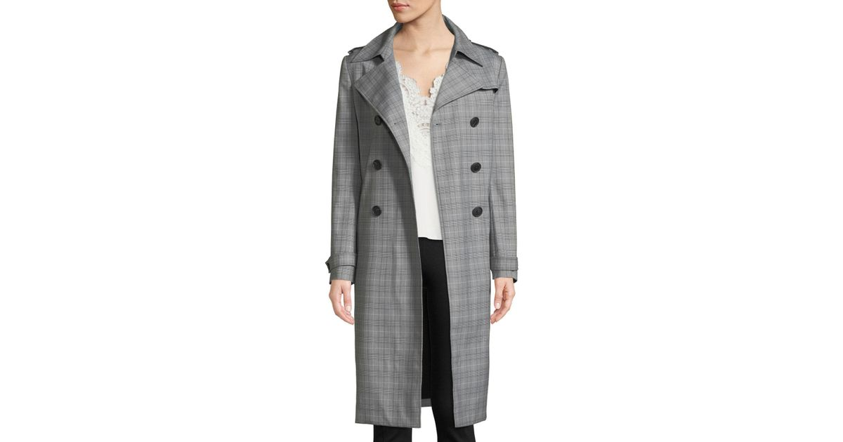 a90cd498846f1 Lyst - Elie Tahari Watson Plaid Trench Coat in Black - Save 27%