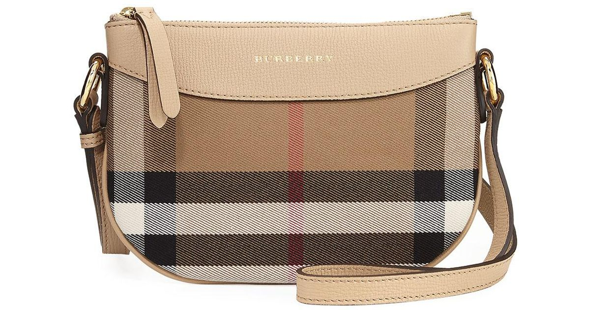 08ce5fa691ae Lyst - Burberry Girls  Coca Check Canvas Leather-trim Crossbody Bag in  Metallic