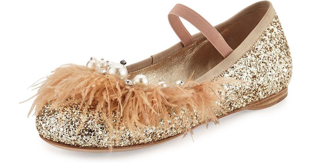 Miu Miu Feather-trim Glitter Ballerina Flat in Metallic - Lyst