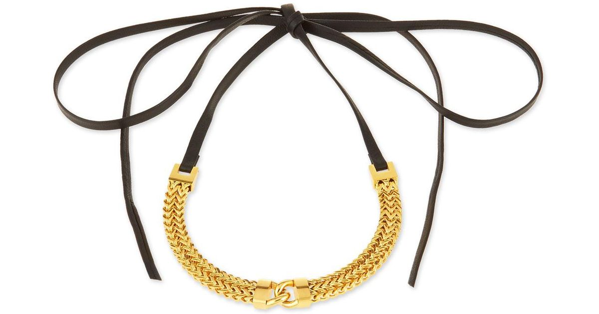 Fallon Link-Front Leather Choker Necklace qYushWnTPG