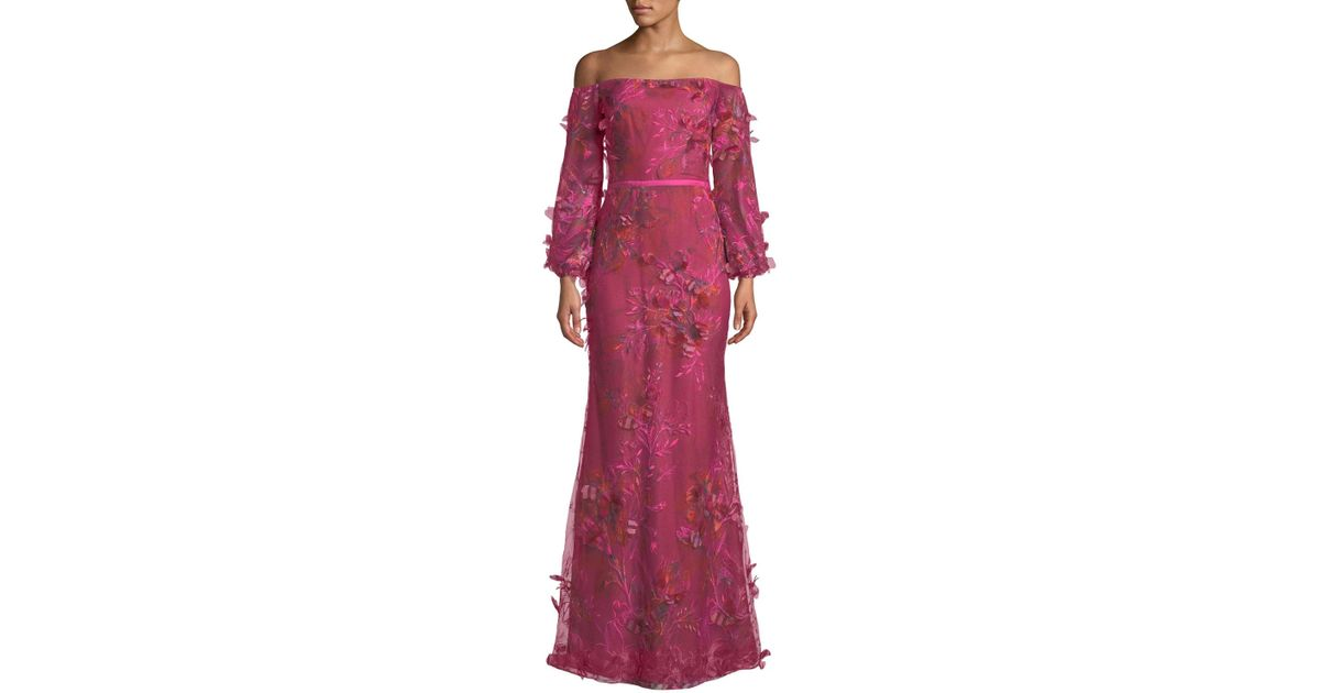9338d0c2 Marchesa notte Off-the-shoulder Bishop-sleeve 3d Floral-embroidered Gown -  Lyst