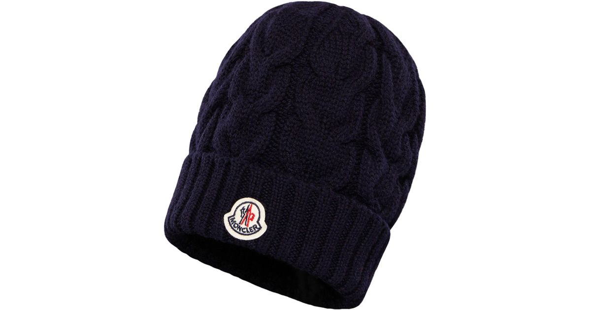 1cd2a5c304c Lyst - Moncler Kids  Berretto Virgin Wool Cable-knit Beanie Hat in Black  for Men
