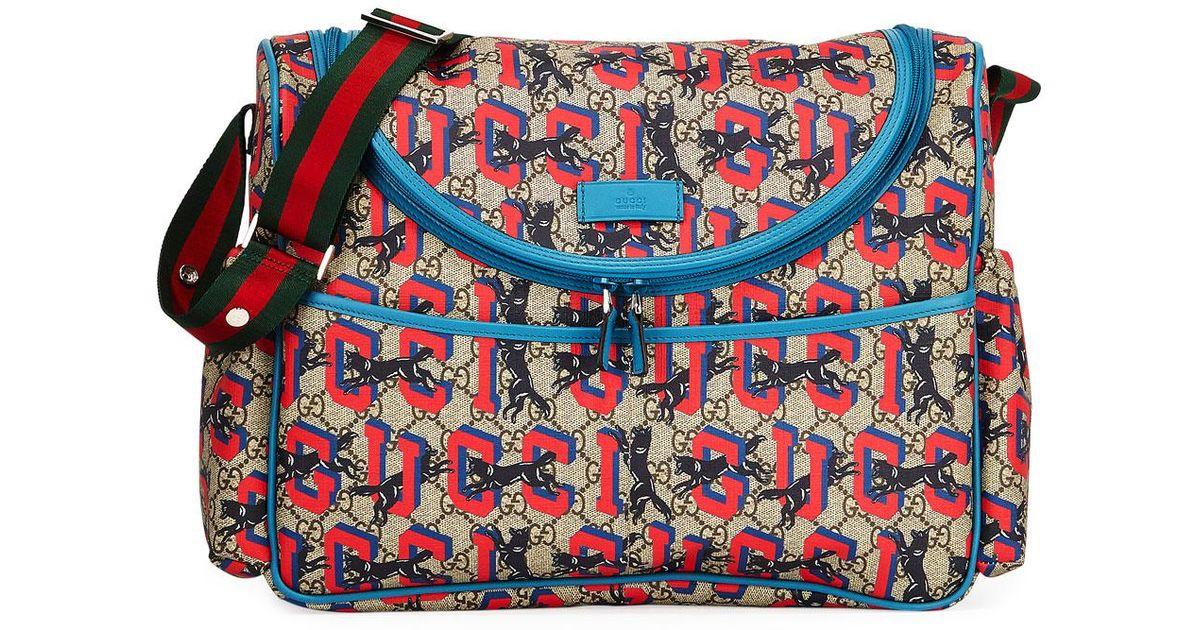 54b69e9d6afe Gucci GG Supreme Wolf-print Diaper Bag in Brown - Lyst