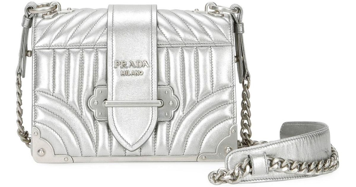 8ce91219a417 Prada Small Diagramme Shoulder Bag W/ Chain Strap in Metallic - Lyst