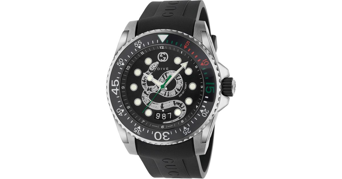 f9f2257144e Lyst - Gucci Men s Dive King Snake Stainless Steel Watch With Rubber Strap  in Black for Men