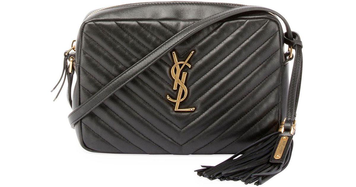 1baa68fc8b0 Lyst - Saint Laurent Loulou Monogram Ysl Medium Chevron Quilted Leather  Camera Shoulder Bag in Black