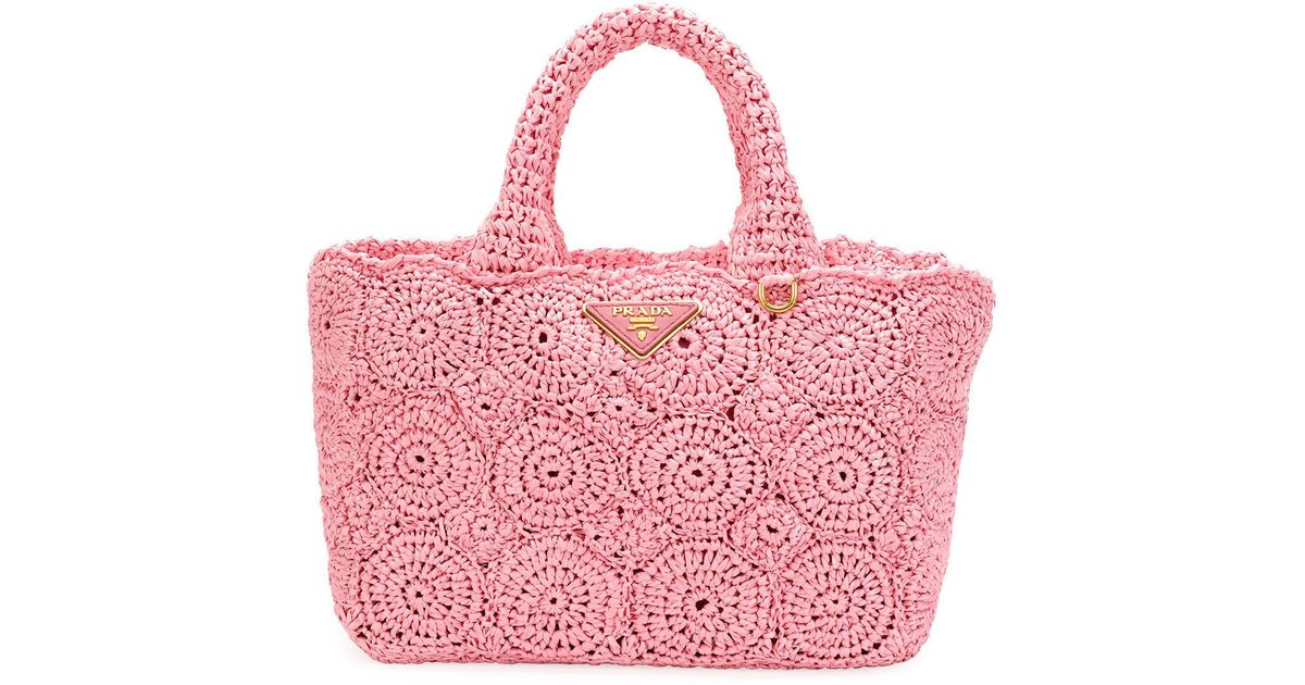 6aac13f90617 ... netherlands lyst prada raffia circle tote bag in pink 8a136 d8480