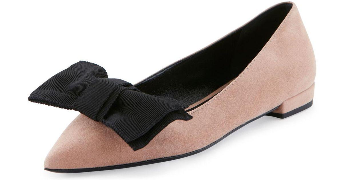 b757f16ba Lyst - Prada Suede Point-toe Bow Flat in Black