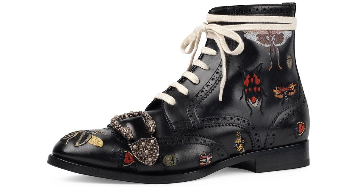 8699607036b Lyst - Gucci Queercore Embroidered Leather Brogue Boot in Black