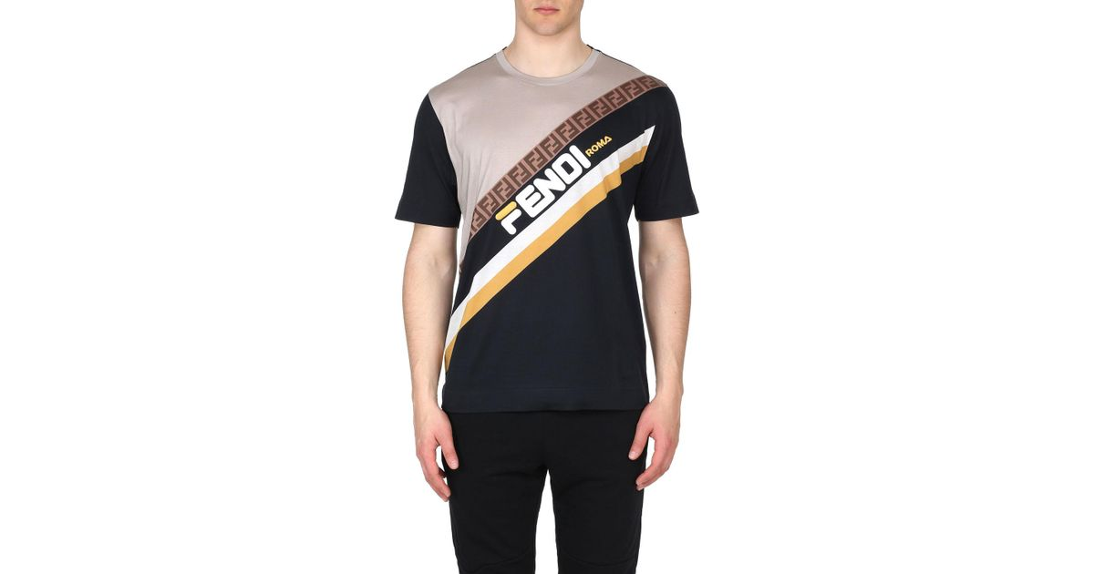 cc3152a621e8 Lyst - Fendi Men s Mania Stripe Oversized Pattern T-shirt in Blue for Men