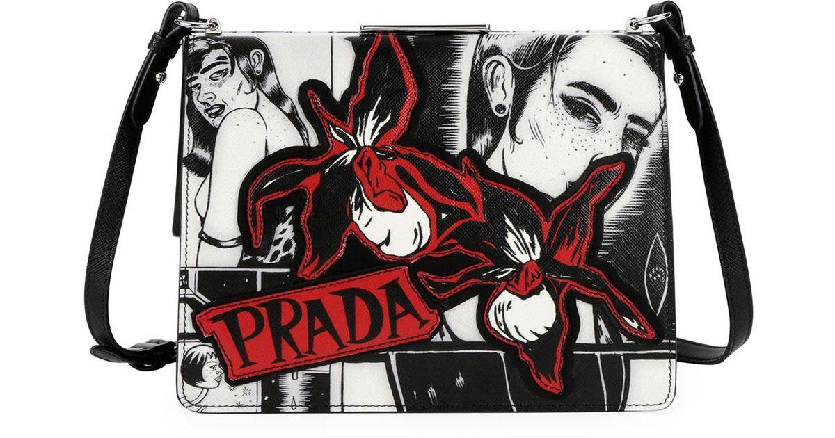 3466e460f4db1d Prada Cartoon-print Frame Shoulder Bag in Black - Lyst