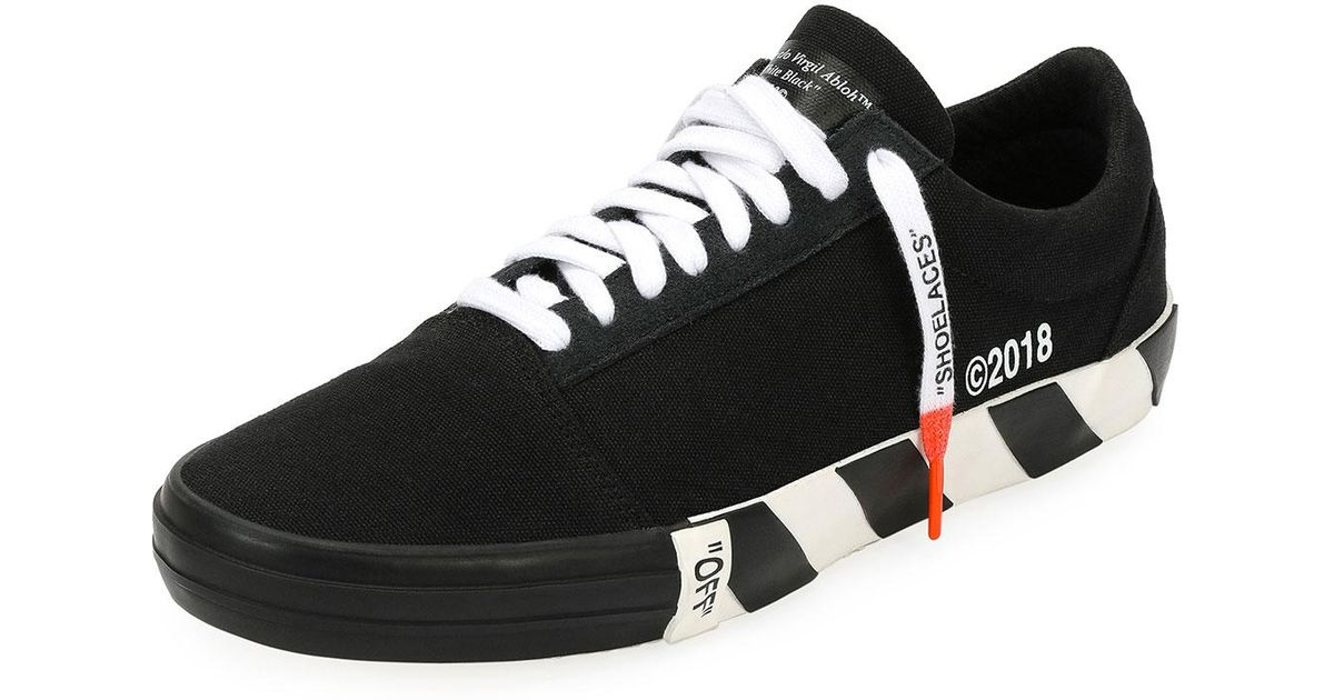 90c7a90206b4 Off-White c o Virgil Abloh Men s Vulc Striped-sole Canvas Low-top Sneaker  in Black for Men - Lyst