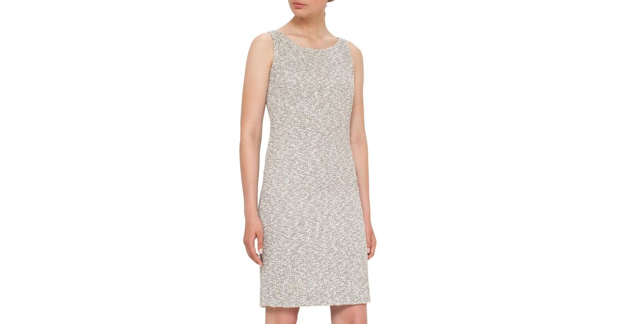 a7416469d767 Lyst - Akris Sleeveless Boucle Sheath Dress in White