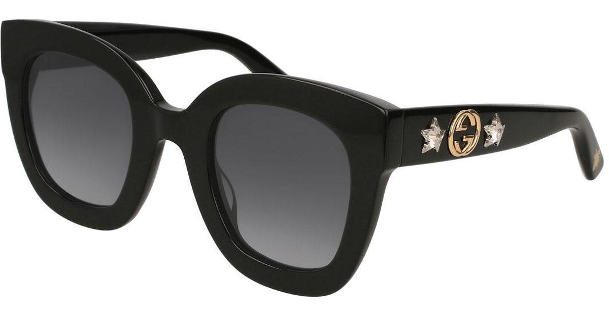 2194221f91e Lyst - Gucci Rectangle Acetate GG Sunglasses W  Crystal Stars in Black