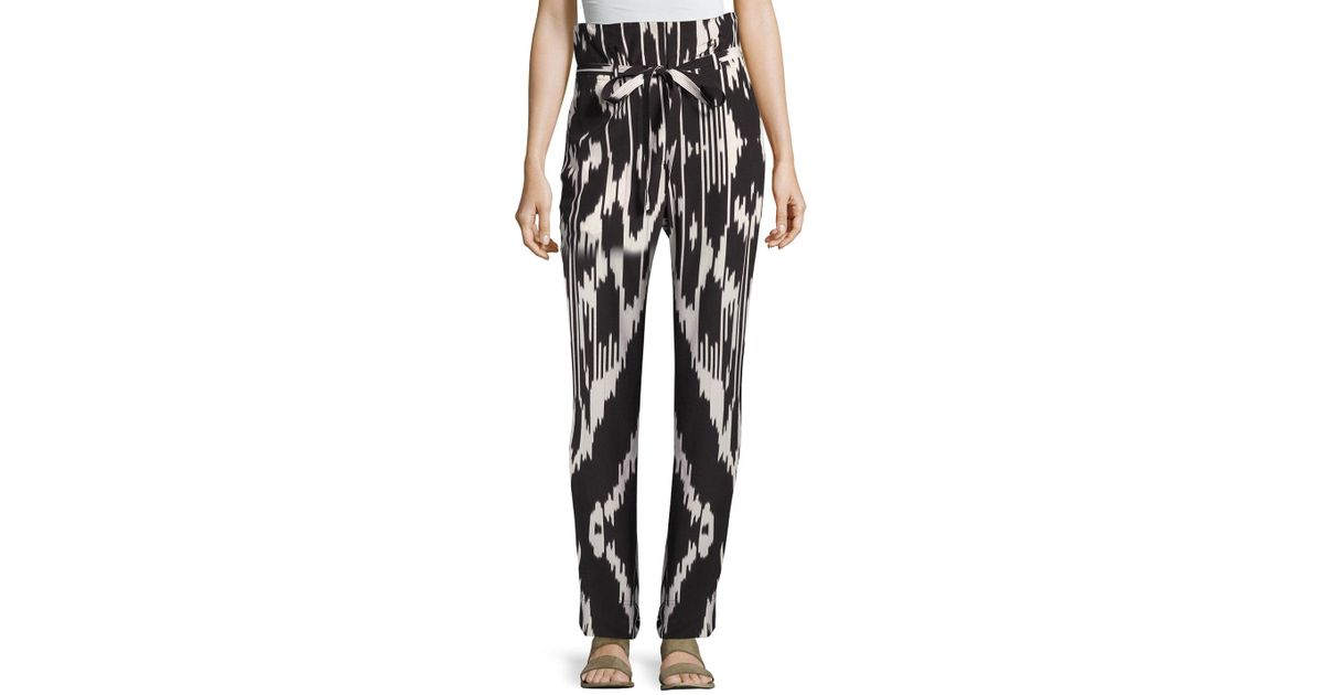 c6a01e31fb3 Theory Gunilla Interlace Ikat Silk Pants in Black - Lyst