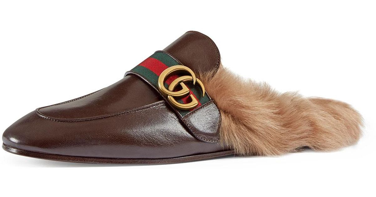 0ac7ad59ebc Lyst - Gucci New Princetown Leather Fur-lined Slipper With Double G in  Brown for Men