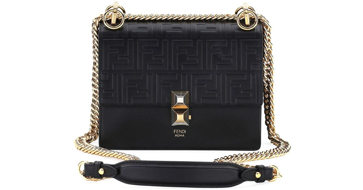 71547a6938a3 Lyst - Fendi Kan I Small Liberty Ff Embossed Shoulder Bag in Black