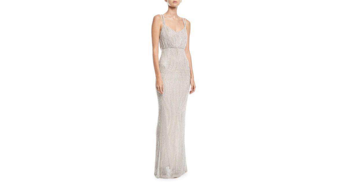Lyst - Rachel Gilbert Beaded Tulle Empire Gown in Blue