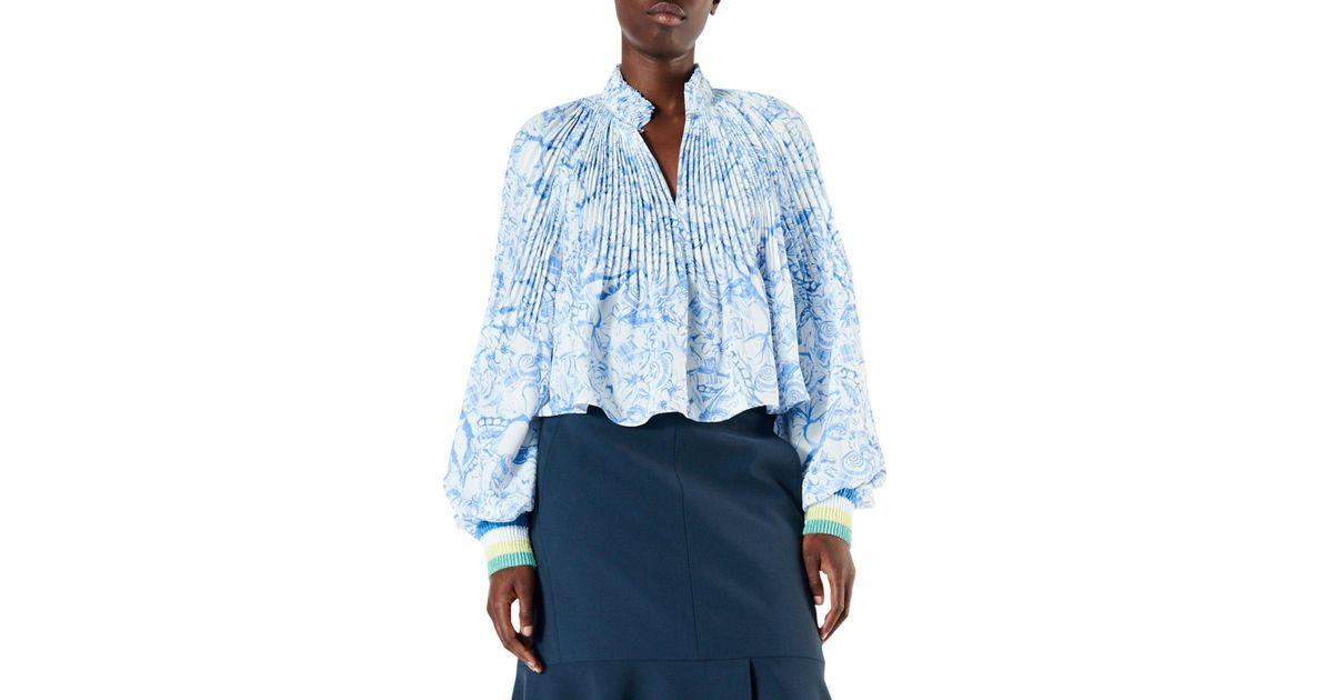 6925fa9332e92 Lyst - Tibi Isa Toile Cropped Puff-sleeve Blouse in Blue