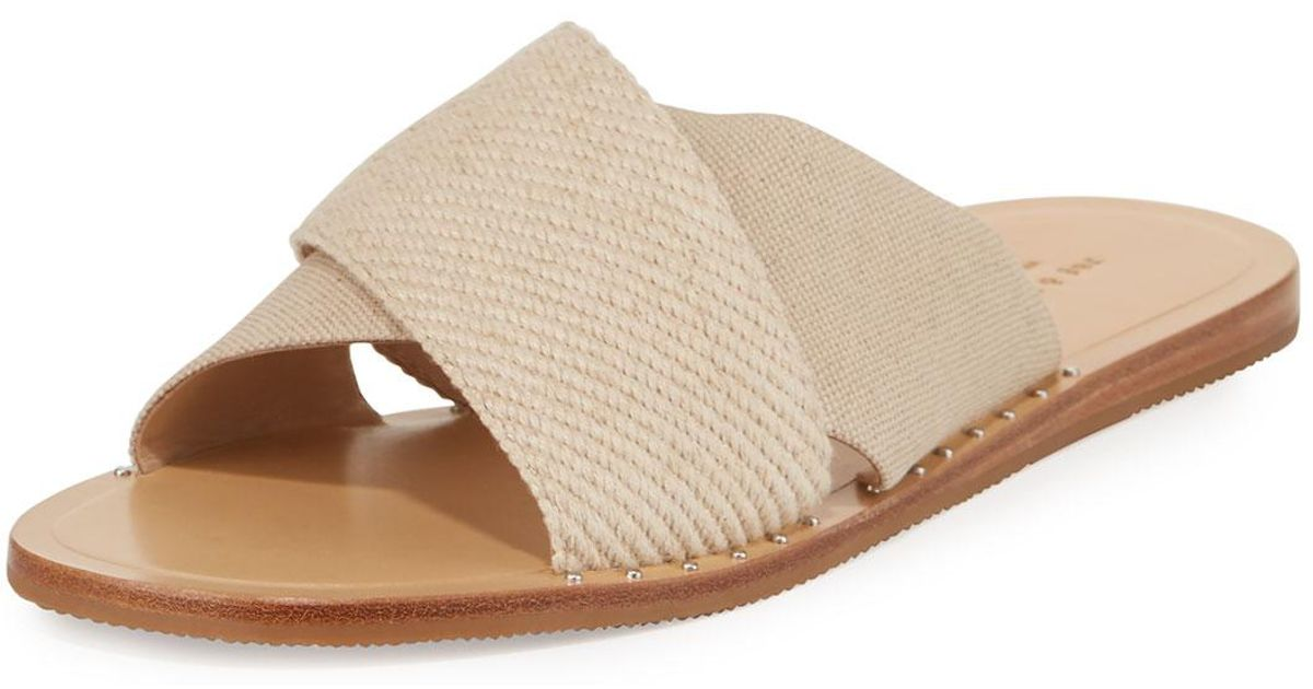 6eeff7642ad6 Lyst - Rag   Bone Keaton Flat Crisscross Canvas Slide Sandals in Natural