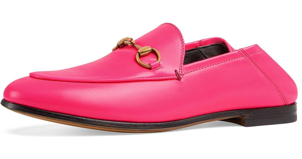3e5dab3a720 Lyst - Gucci Brixton Neon Leather Horsebit Loafers in Pink