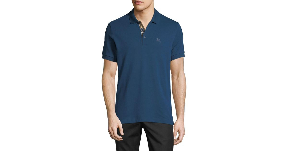 8e374bf7cce6 Lyst - Burberry Men s Hartford Polo Shirt in Blue for Men