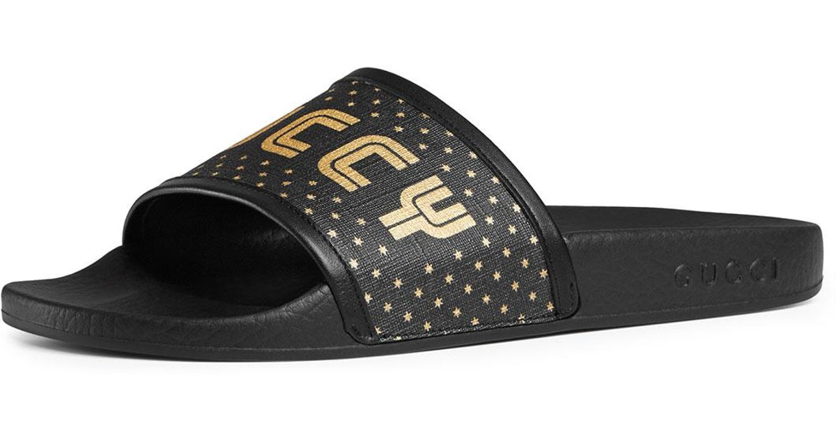 d67dce196ba5b0 Gucci Guccy Pool Slide Sandals in Black - Lyst