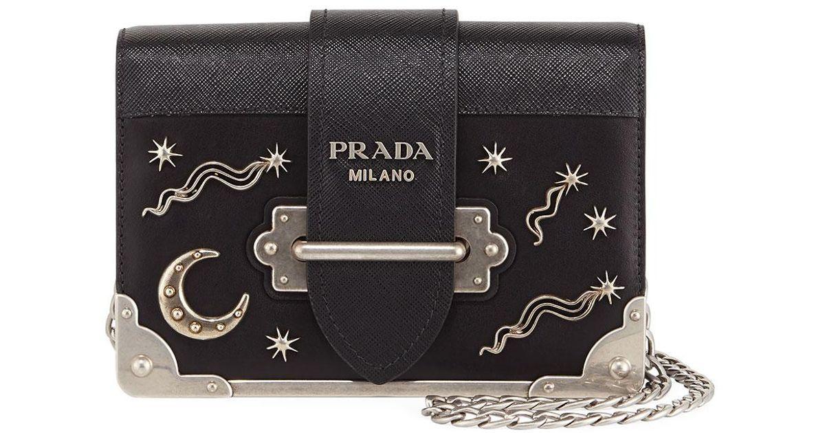 4d64ef350be6 Prada Cahier Small Stars Moon Trunk Crossbody Bag in Black - Lyst