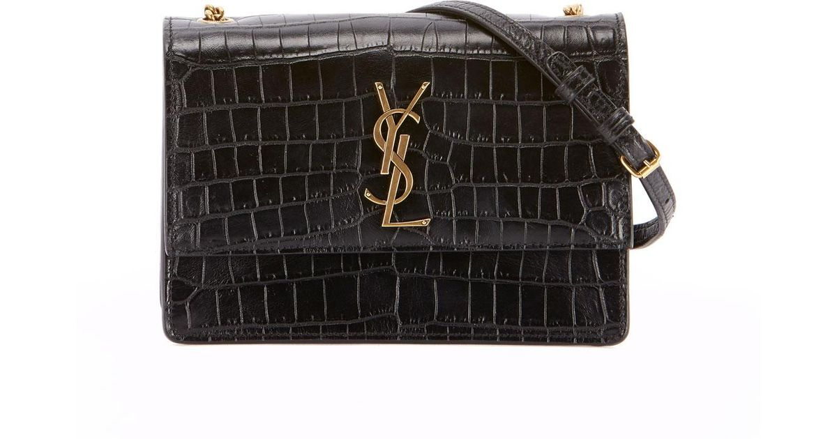 102953401d Lyst - Saint Laurent Monogram Ysl Sunset Small Chain Croco Shoulder Bag in  Black