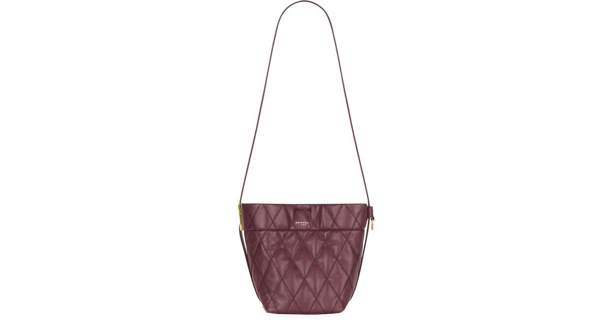 834495206290 Lyst - Givenchy Gv Quilted Mini Bucket Bag in Purple