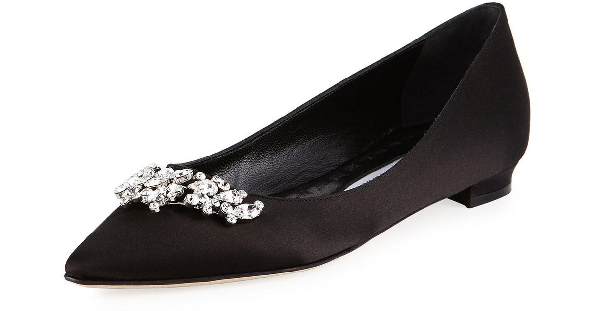 35e0a3caf7649 Manolo Blahnik Lurum Crystal-embellished Satin Flat in Black - Lyst