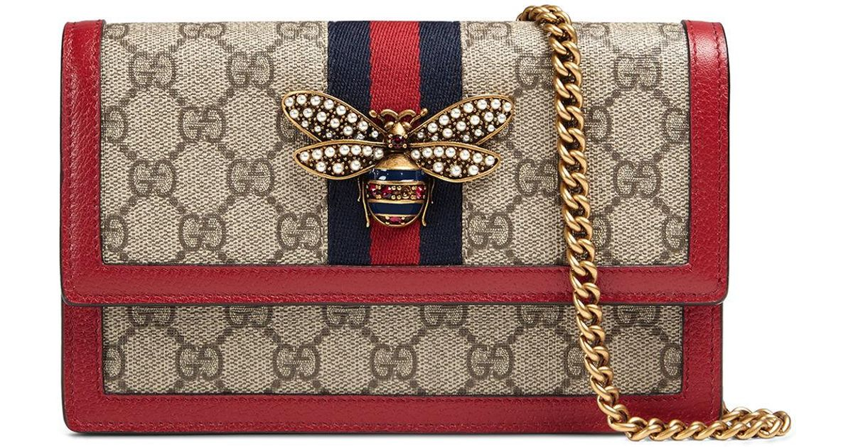 d06226f1a0a9 Gucci Queen Margaret GG Supreme Wallet On Chain - Lyst