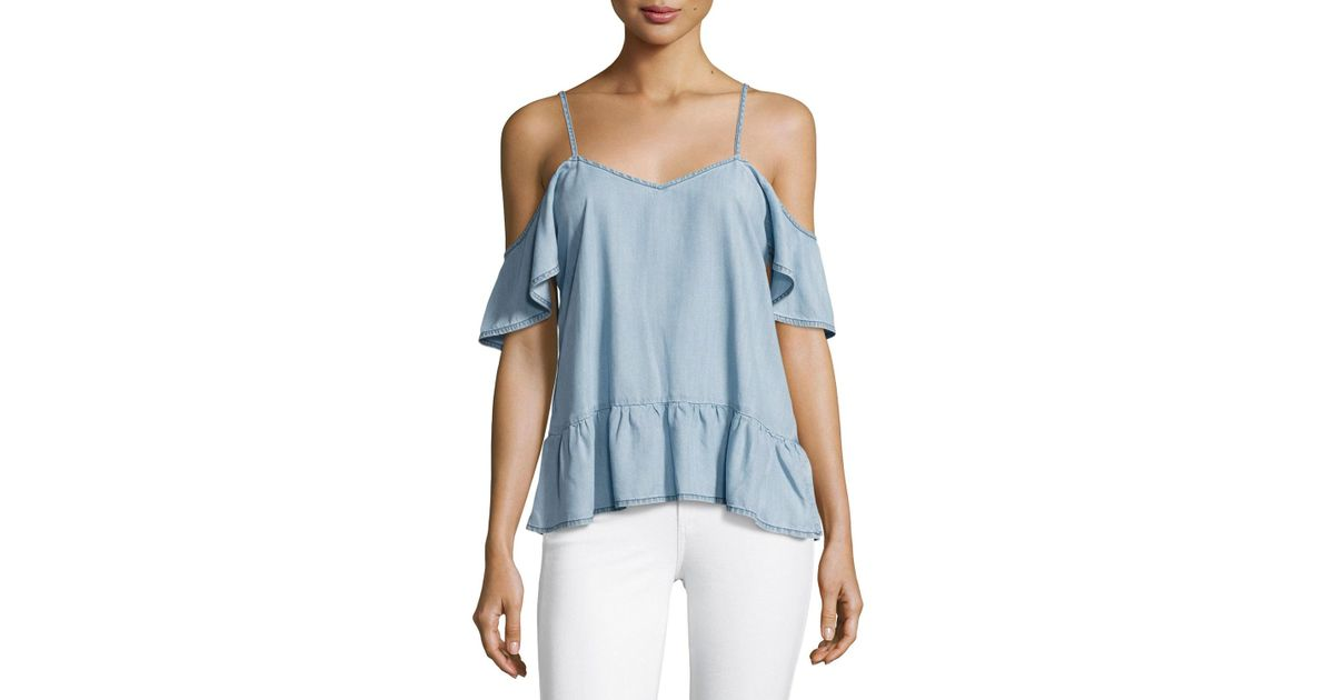 f63183506e4398 Lyst - Paige Mitzi Cold-shoulder Chambray Top in Blue
