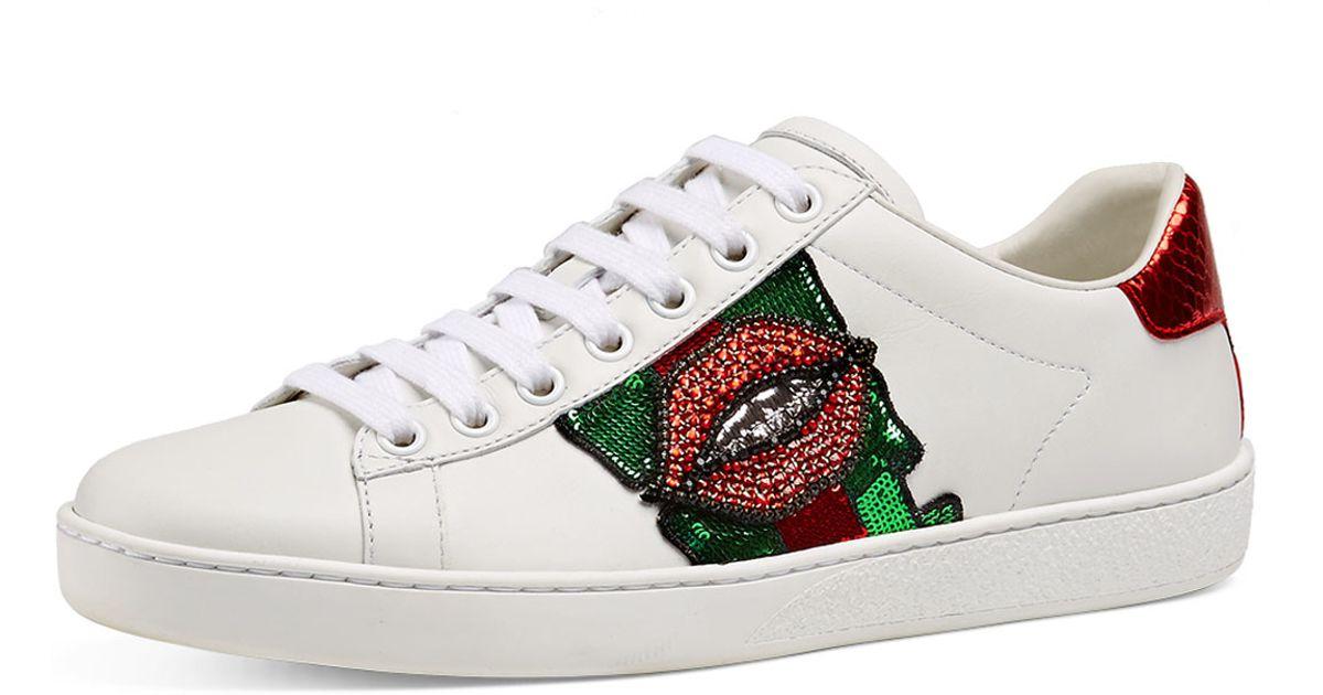 22fc1d2cc6c Lyst - Gucci New Ace Lips Low-top Sneaker