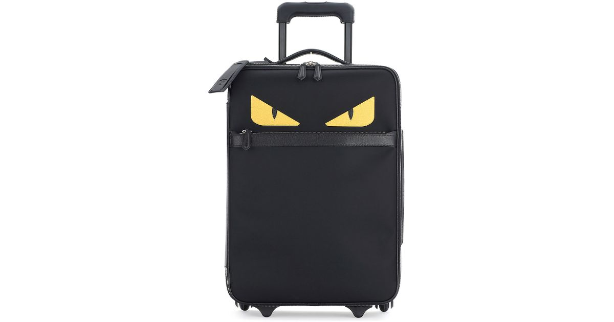 61a2af4ae1c0 Lyst - Fendi Monster Eyes Canvas   Leather Trolley Suitcase in Black for Men