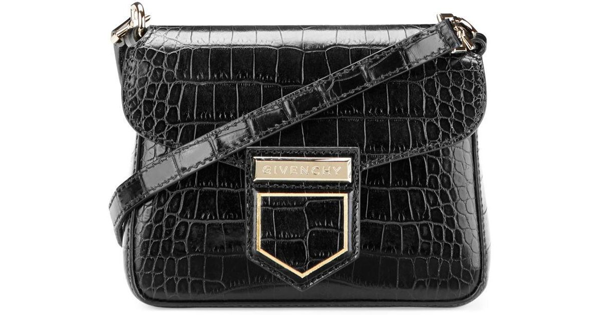Lyst - Givenchy Small Crocodile Embossed Leather Nobile in Black bab98c21dacc0