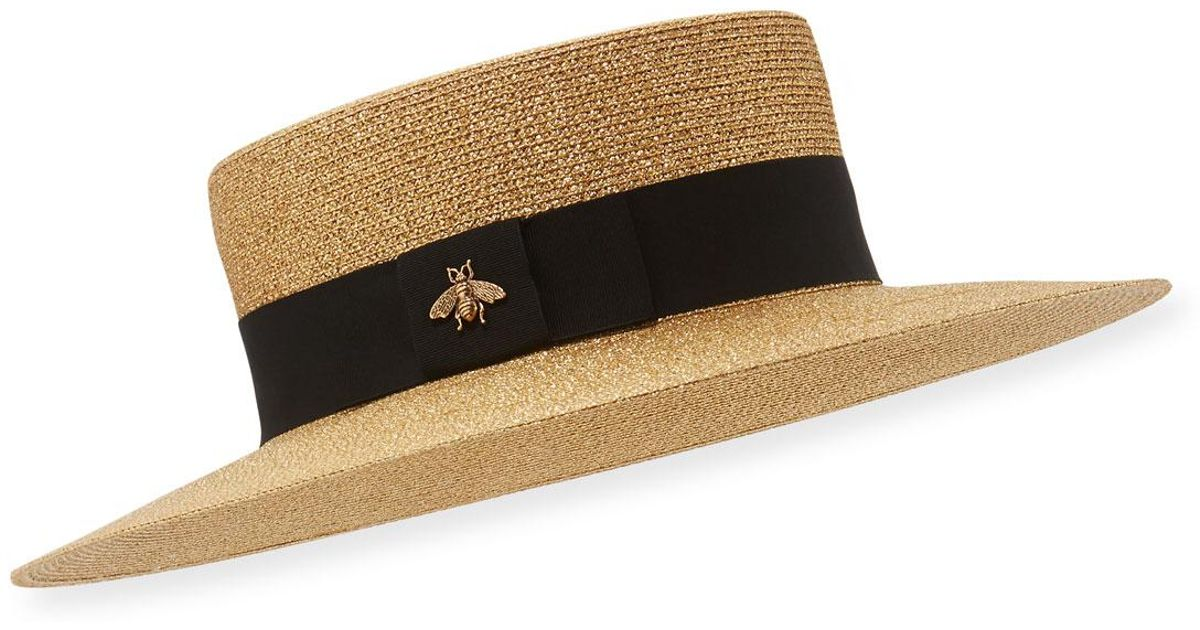 Lyst - Gucci Bee Boater Hat d835a5d5cff