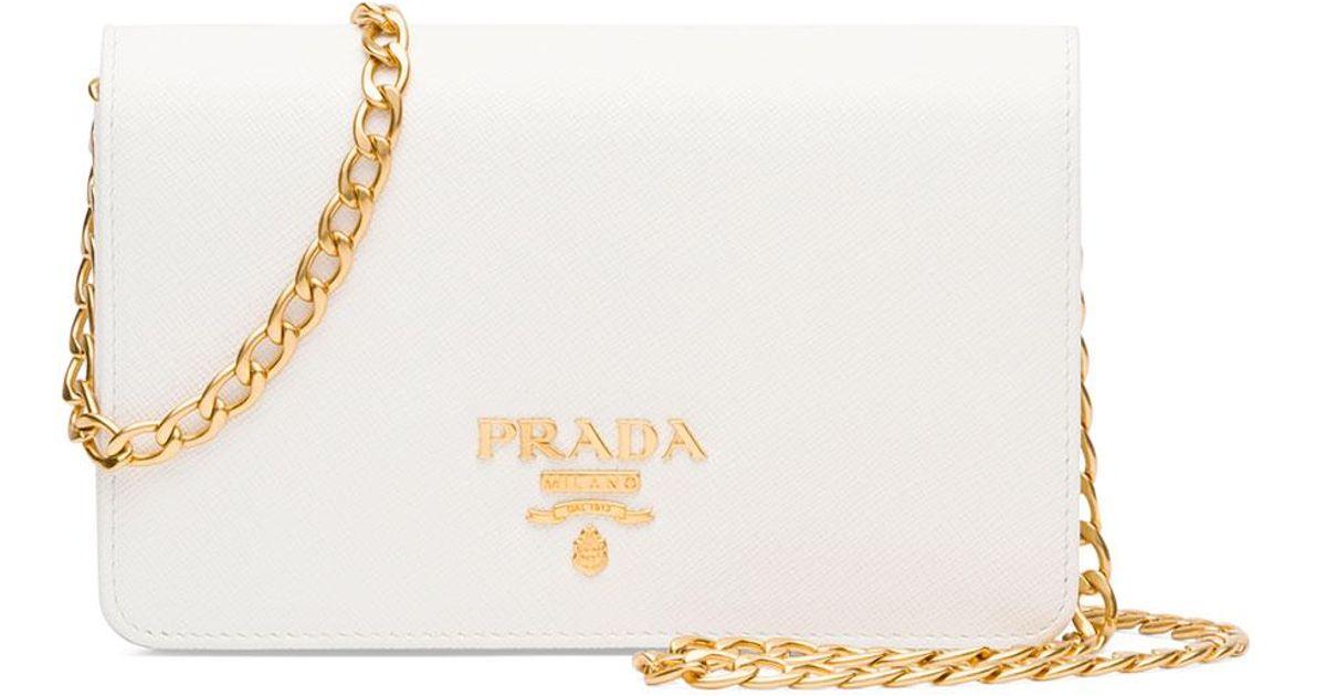 3a372a65bd5f Lyst - Prada Saffiano Lux Crossbody Bag in White