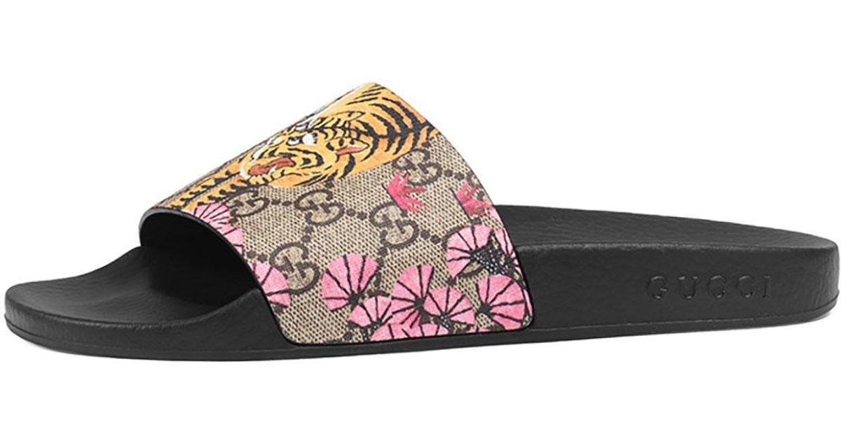 cb062526bda Lyst - Gucci Pursuit Bengal-Print Canvas Sandal in Black