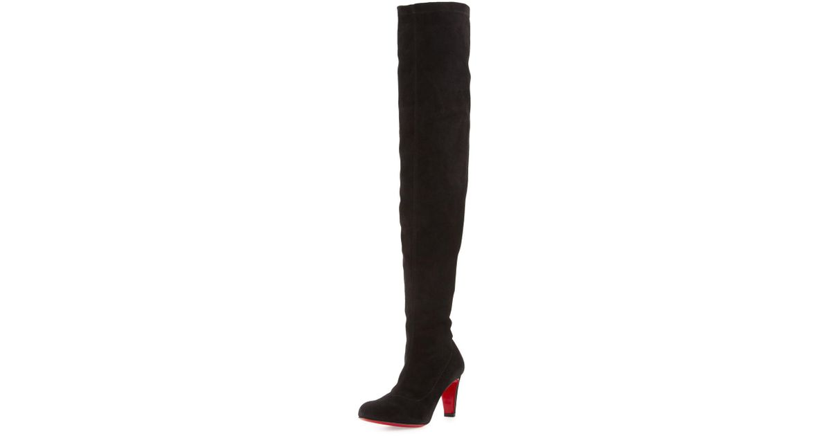 2e921c196015 Lyst - Christian Louboutin Alta Top Suede 70mm Over-the-knee Red Sole Boot  in Black