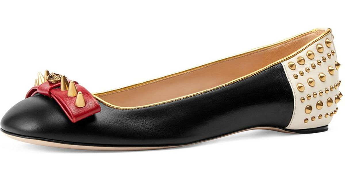 b4d2e203b Lyst - Gucci Lexi Studded Leather Ballet Flat in Black